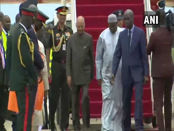 President Ram Nath Kovind on Tuesday arrives in Banjul
