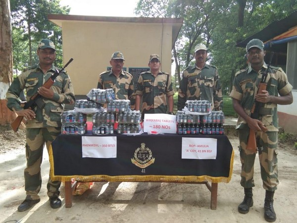 BSF troops recovered 12 bags containing 350 bottles of Phensedyl and 180 Yaba tablets in Raiganj on Tuesday.