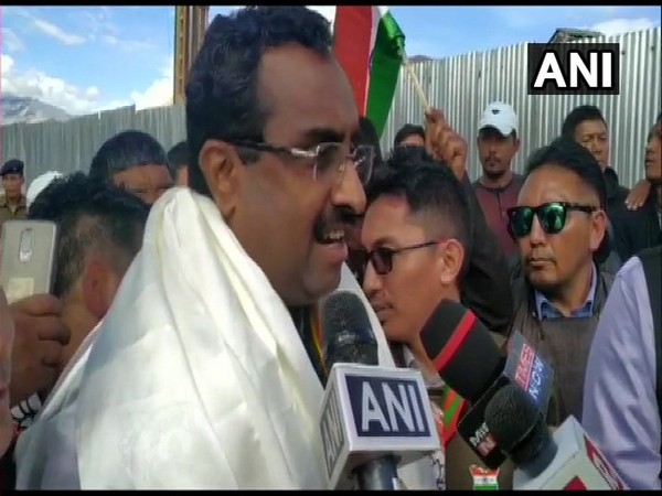 BJP General Secretary Ram Madhav in Leh on Thursday. Photo/ANI