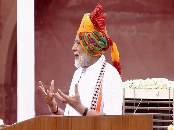 Prime Minister Narendra Modi speaking at Red Fort in Delhi on Thursday. Photo/ANI