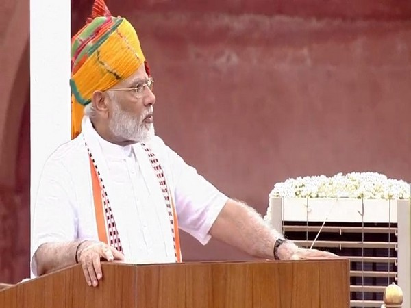 Prime Minister Narendra Modi addressing the nation from the Red Fort on Thursday. (Photo/ANI)