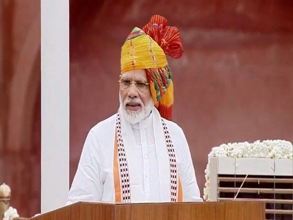 Prime Minister Narendra Modi addresses nation on the occasion of 73rd Independence Day. [Photo/ANI]