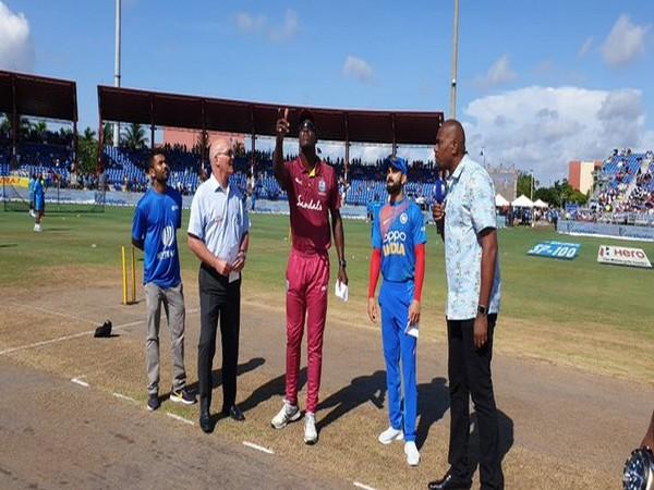 Indian skipper Virat Kohli and West Indies skipper Carlos Brathwaite (Photo/ BCCI Twitter)