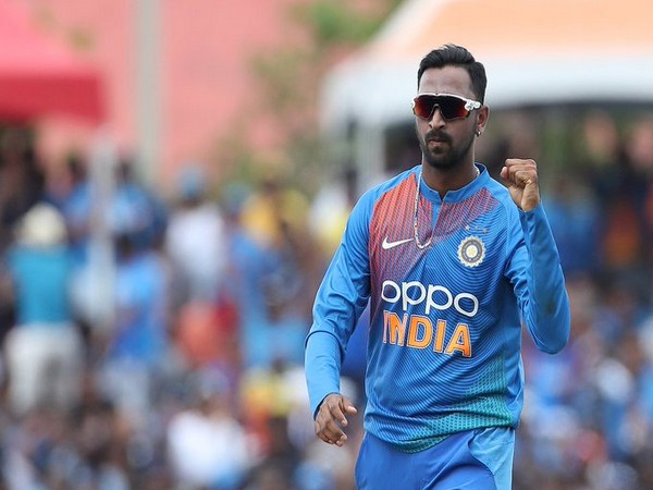 Indian spinner Krunal Pandya in action against West Indies in the second T20I (Photo/ BCCI Twitter)