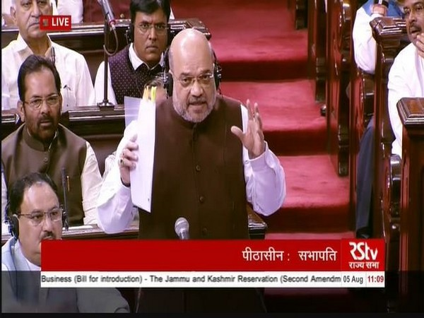 Home Minister Amit Shah speaking in Rajya Sabha on Monday. Photo/ANI