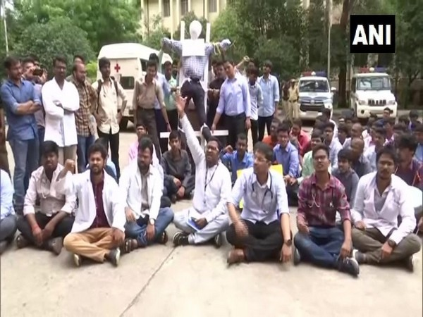 Visuals from doctors protest in Hyderabad, Telangana.