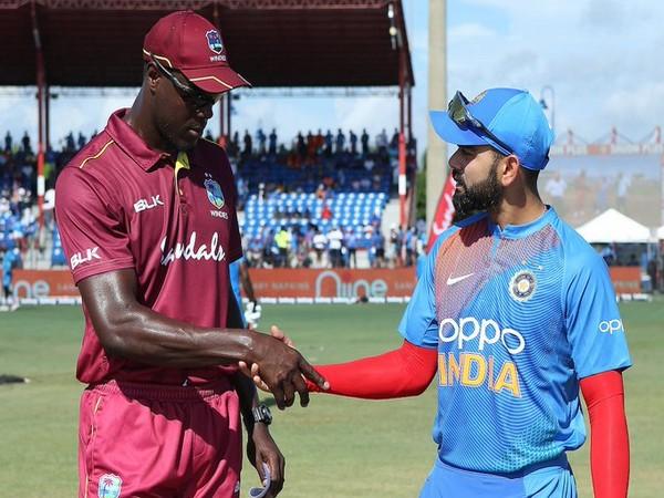 West Indies skipper Carlos Brathwaite and Indian skipper Virat Kohli (Photo/ BCCI Twitter)