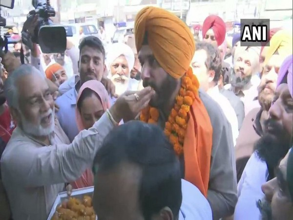 Navjot Singh Sidhu in Amritsar East Assembly constituency. Photo/ANI