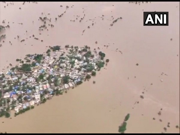 An aerial view of flood-affected Karnataka's Belagavi district. Photo/ANI