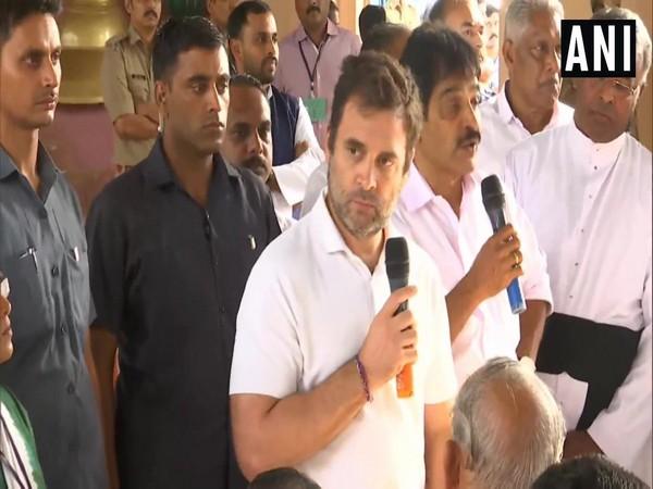 Rahul Gandhi addressing the public on Tuesday. Photo/ANI