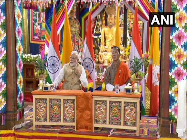 Prime Minister Narendra Modi and his Bhutanese counterpart Lotay Tshering at the Semtokha Dzong on Saturday. Photo/ANI