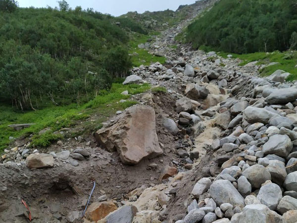 Washed away road in Lahul-Spiti district on Sunday. Photo/ANI