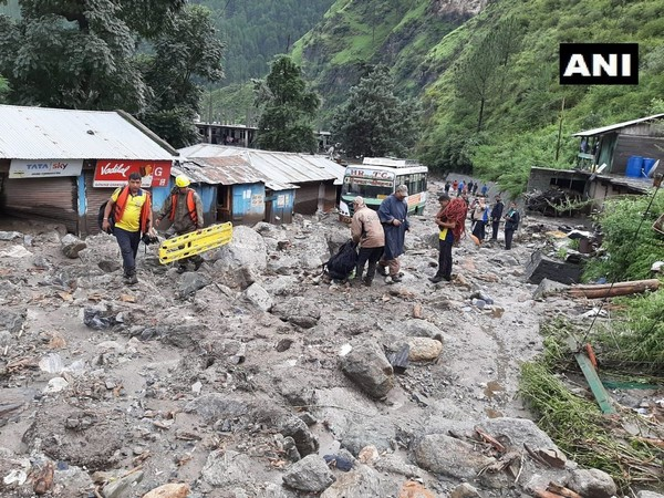 SDRF during a rescue and relief operation in Uttarakshi on August 19. Photo/ANI