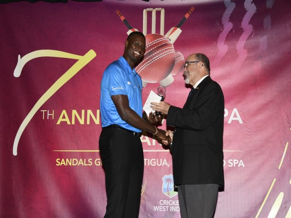 Jason Holder receives CWI Test Player of the Year award (Photo/ Windies Cricket Twitter)
