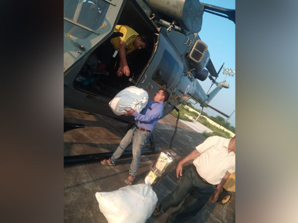 6 quintal of relief material have been sent by Air Force helicopters to flood hit Mori Tehsil of Uttarkashi district. [Photo/ANI]