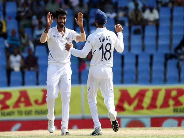 Jasprit Bumrah celebrates after dismissing Darren Bravo (Photo/ BCCI Twitter)