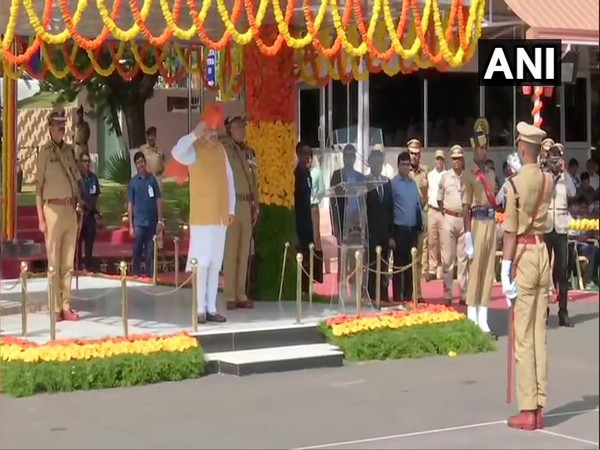 Home Minister Amit Shah at the passing out parade in National Police Academy, Hyderabad. Photo/ANI