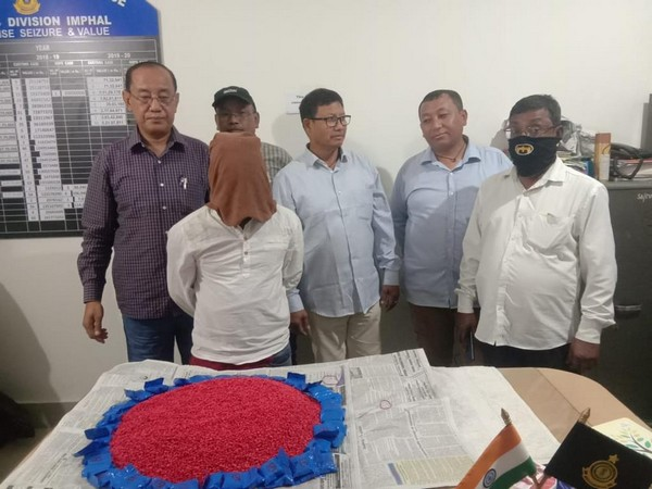 Manipur: Anti-Smuggling Unit of Customs Division, Imphal has seized 1,00,000 Amphetamine tablets worth approximately Rs 10 crore, in Thoubal [Photo/ANI]