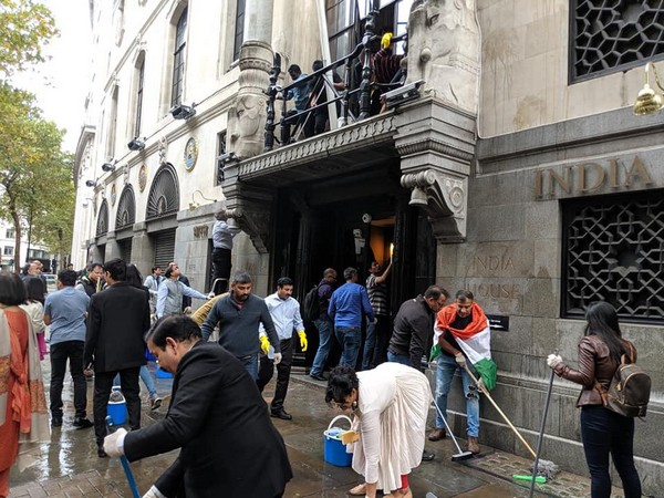 British Indians cleaning India House in London on Saturday. (Photo: Twitter)