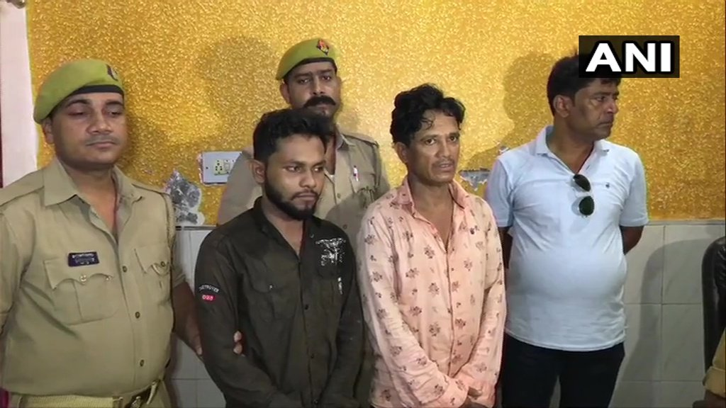 The arrested Bangladeshis in police custody in Kanpur