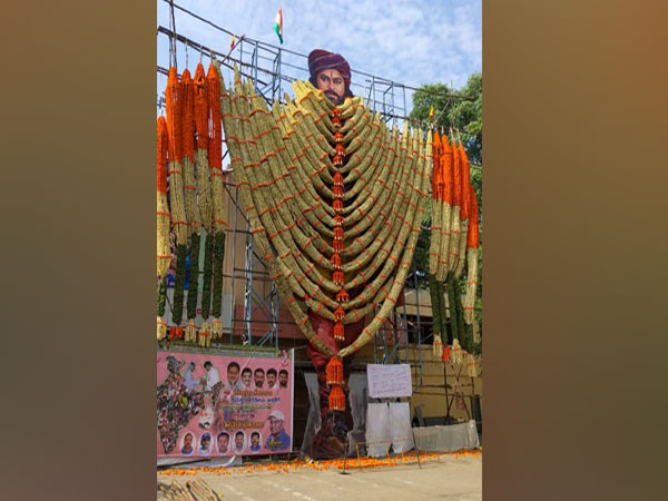 Chiranjeevi's garlanded cut-out
