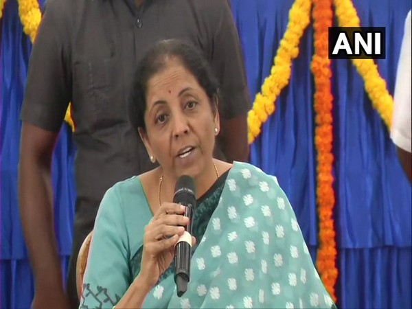 Finance Minister Nirmala Sitharaman addressing a presser in Chennai on Sunday. Photo/ANI