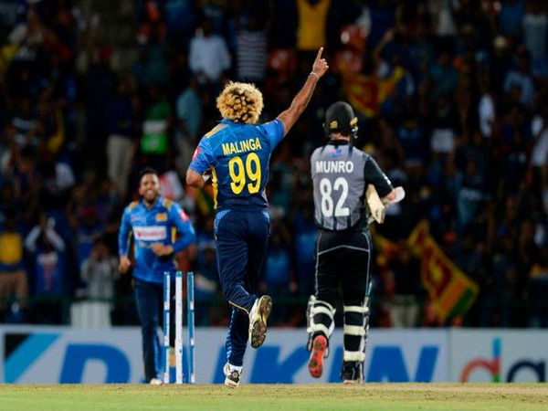 Lasith Malinga celebrates after taking wicket against New Zealand (Photo/ ICC Twitter)