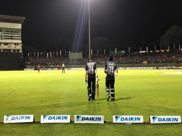 New Zealand's Daryl Mitchell and Mitchell Santner going out to bat against Sri Lanka (Photo/ BlackCaps Twitter)