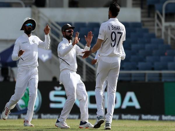 Ishant Sharma celebrates after taking the wicket of Kraigg Brathwaite (Photo/ BCCI Twitter)