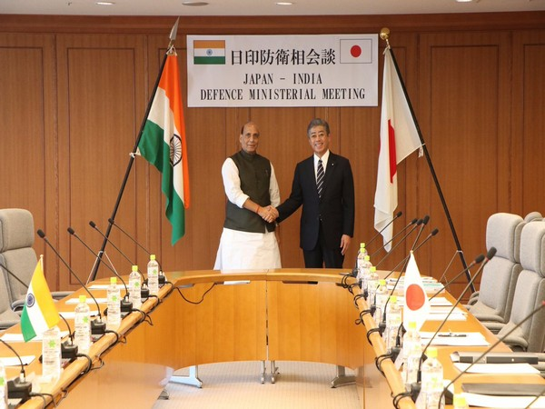 Defence Minister of India Rajnath Singh with his Japanese counterpart Takeshi Iwaya