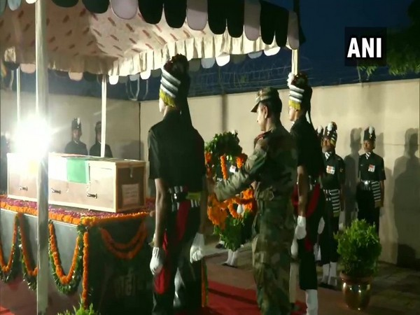 Wreath-laying ceremony for Army Grenadier Hemraj Jat in Jaipur. Photo/ANI