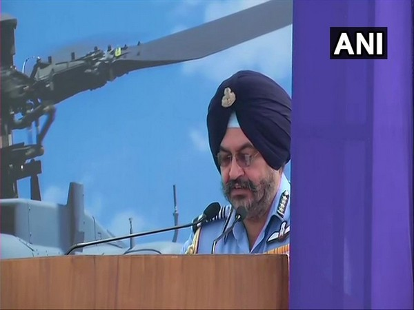 IAF Chief BS Dhanoa speaking at the induction ceremony of Apache attack helicopters. Photo/ANI