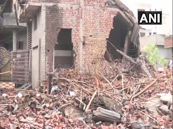 Visuals from the fire-crackers factory in Batala of Gurdaspur district where a fire broke out on Wednesday. Photo/ANI