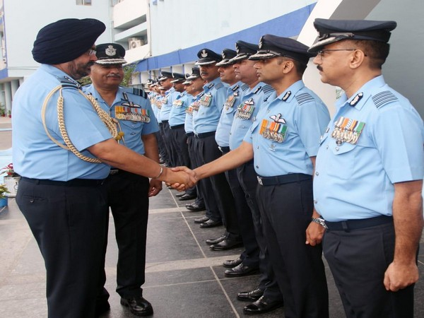 Air Chief Marshal BS Dhanoa and Air Marshal R Nambiar, Western Air Command, met officers before the Western Air Commanders' Conference in New Delhi on Friday.