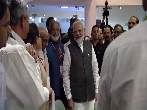 Prime Minister Narendra Modi at ISRO headquarters in Bengaluru on early Saturday morning.