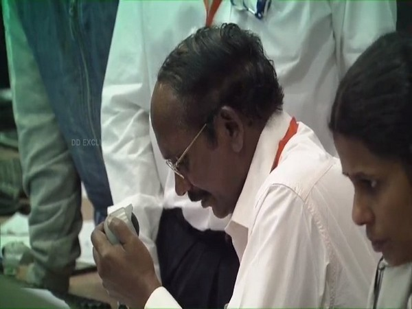 ISRO Chairman K Sivan announced that communication with Vikram was lost at 2.1 km from lunar surface. Photo/ANI.