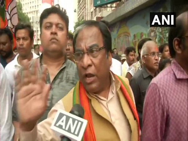 BJP state vice-president Jay Prakash Majumdar speaking to ANI during the protest on Friday. Photo/ANI
