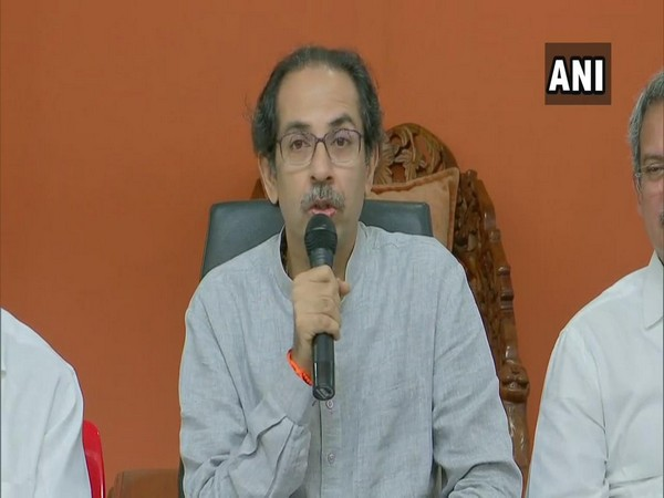 Shiv Sena chief Uddhav Thackeray talking to media in Mumbai on Friday. Photo/ANI