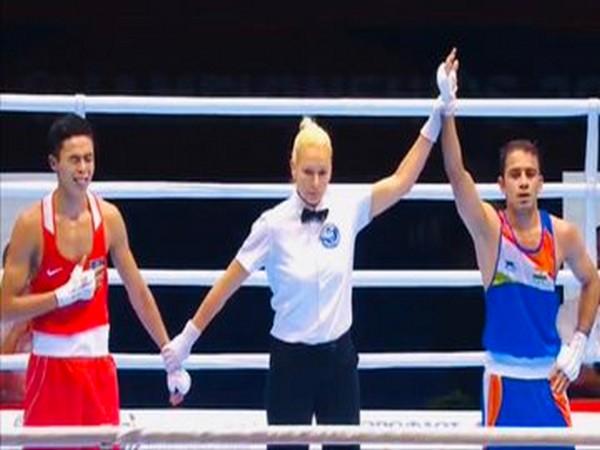 Amit Panghal after winning the semi-final bout (Photo/ SAI Media Twitter)