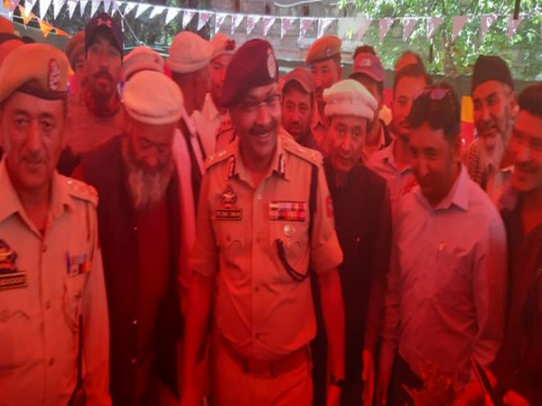 DGP Dilbagh Singh with villagers in Turtuk on Monday. Photo/Twitter@JmuKmrPolice