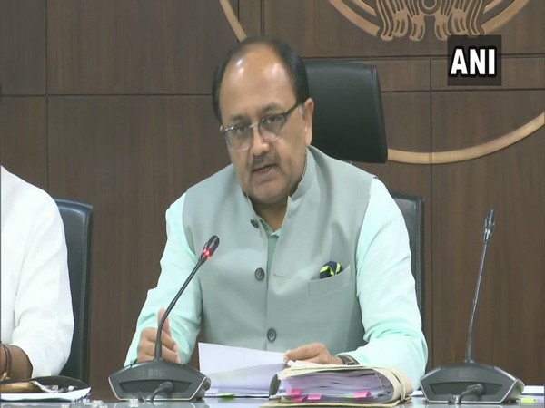State minister Sidharth Nath Singh talking to reporters in Lucknow on Tuesday. Photo/ANI