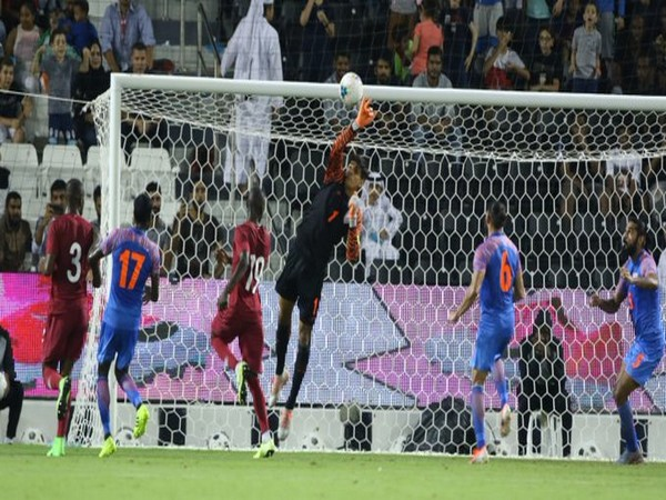 India goalkeeper Gurpreet Singh Sandhu in action against Qatar (Photo/ Indian Football Team Twitter)
