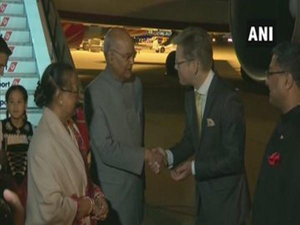 President Ram Nath Kovind and his wife Savita Kovind arrive in Bern