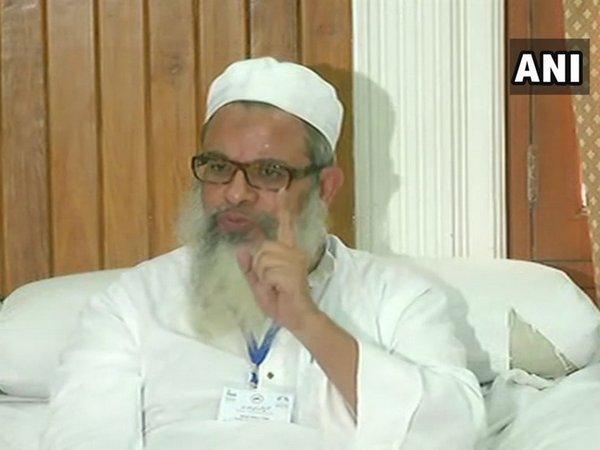 Jamiat Ulema-e-Hind leader Mahmood Madani addressing a press conference in New Delhi on Thursday. Photo/ANI