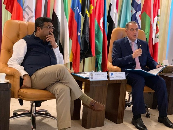 Petroleum and Natural Gas Minister Dharmendra Pradhan with Secretary-General of the of GECF Yury P. Sentyurin in Doha on Thursday. (Photo Credits: Dharmendra Pradhan's Twitter)
