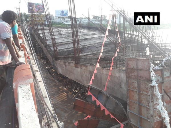 A portion of an under-construction bridge which collapsed in Rajanna Siricilla district on Saturday. Photo/ANI