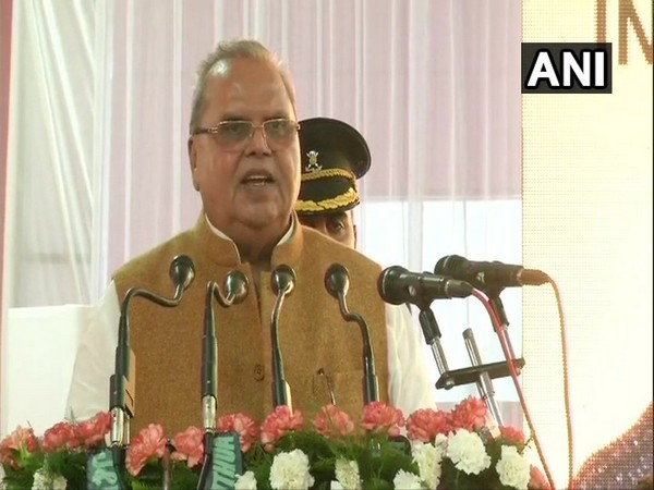 Jammu and Kashmir Governor Satya Pal Malik speaking at the inaugural function of a government hospital in Jammu and Kashmir's Kathua district. Photo/ANI