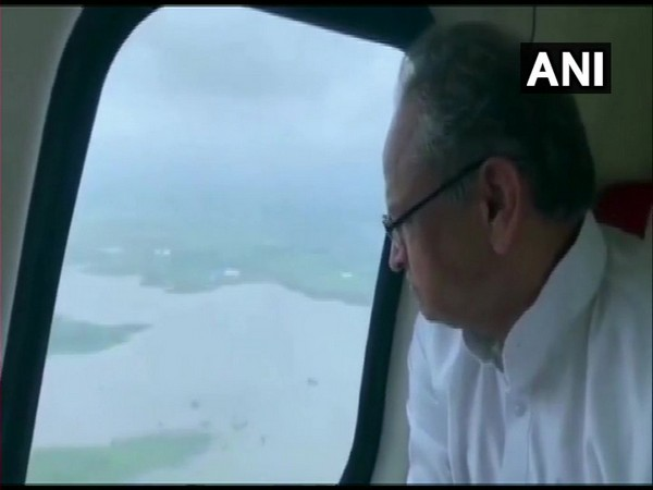 Chief Minister Ashok Gehlot while conducting an aerial survey of the flood affected region on Monday. Photo/ANI