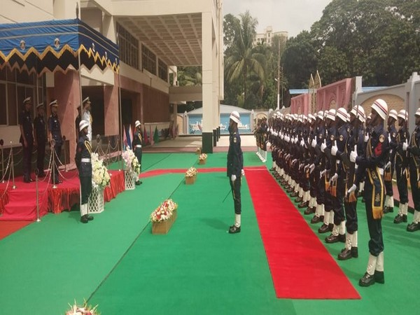 India Coast Guard Director General Krishnaswamy Natarajan being awarded Guard of Honour in Dhaka. Photo/ANI