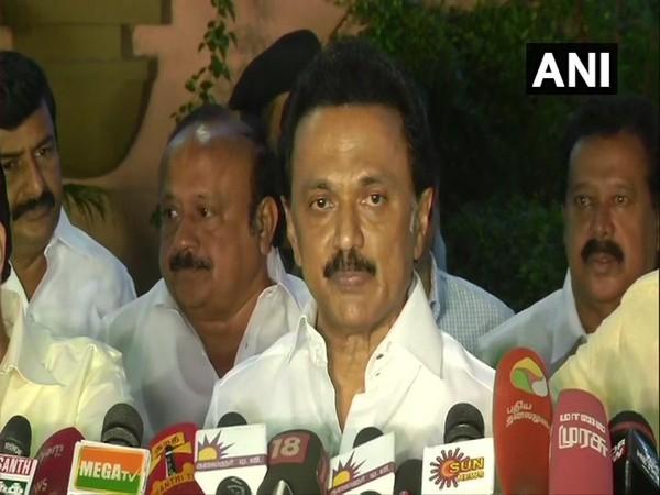 DMK President MK Stalin addressing a press conference in Chennai on Monday. Photo/ANI